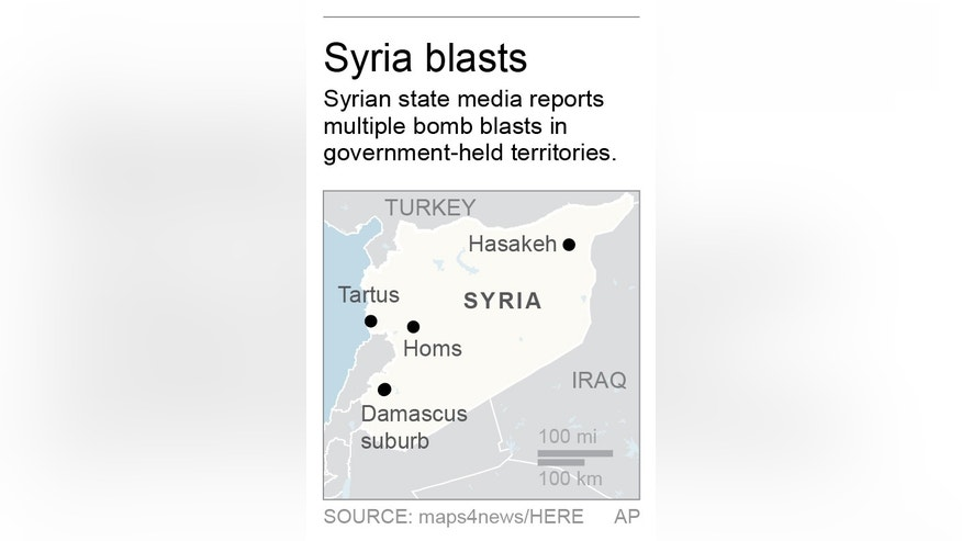 Fixes spelling of Tartus; map locates blasts at various Syrian cities; 1c x 2 1/2 inches; 46.5 mm x 63 mm;