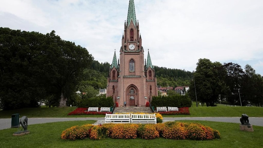 This July 25, 2016 photo shows Bragernes Church in Drammen, Norway. Norway's state church has seen a record fall in membership after making it possible to join and leave the church electronically. (Lise Aaserud / NTB Scanpix via AP)