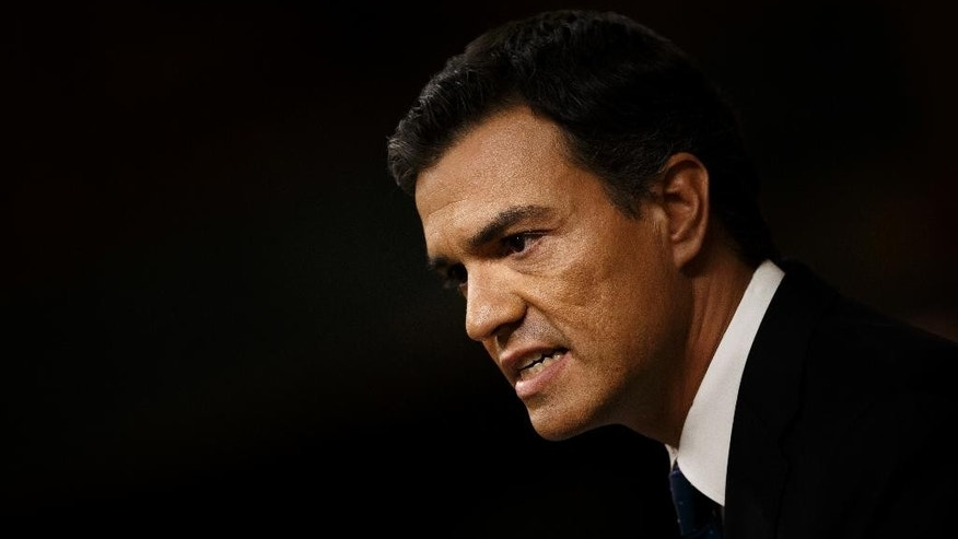 Spain's Socialist party leader Pedro Sanchez addresses lawmakers during the second of the two investiture debates, at the Spanish parliament in Madrid, in Madrid, Spain, Friday, Sept. 2, 2016. Lawmakers in Spain's Parliament rejected for the second time in three days acting Prime Minister Mariano Rajoy's bid to form a minority government, pushing the country to a third election in a year. (AP Photo/Daniel Ochoa de Olza)