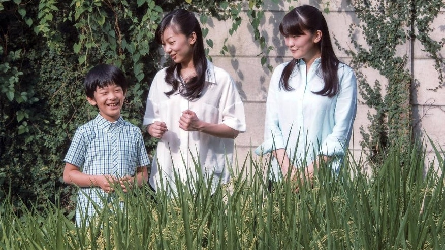 In this photo taken Aug. 10, 2016 and provided by Imperial Household Agency of Japan on Tuesday, Sept. 6, 2016, Japan's Prince Hisahito poses with his sisters, Princess Kako, center, and Princess Mako at a rice field of the Akasaka Detached Palace in Tokyo. Prince Hisahito turned 10 years old on Tuesday. (Imperial Household Agency of Japan via AP)