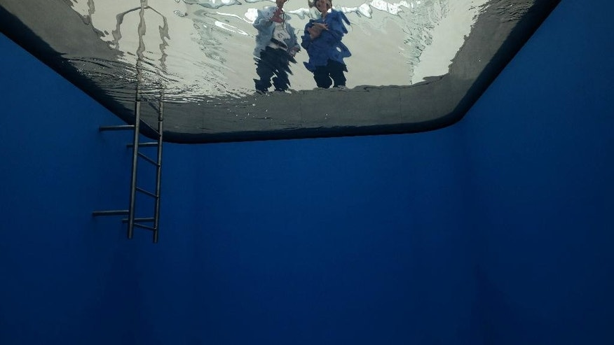 CORRECTS NAME OF MUSEUM DIRECTOR TO  PIJBES  - Wim Pijbes, director of the new Museum Voorlinden, left, is seen next to a reporter from the bottom of a swimming pool made by artist Leandro Erlich at the museum in Wassenaar, Netherlands,  Wednesday, Aug. 31, 2016. The pool is one of the permanent exhibits at the new museum, which is set amid lawns and forested dunes near the Dutch North Sea coast and will open its doors to the public for the first time on Sept. 11. (AP Photo/ Mike Corder)