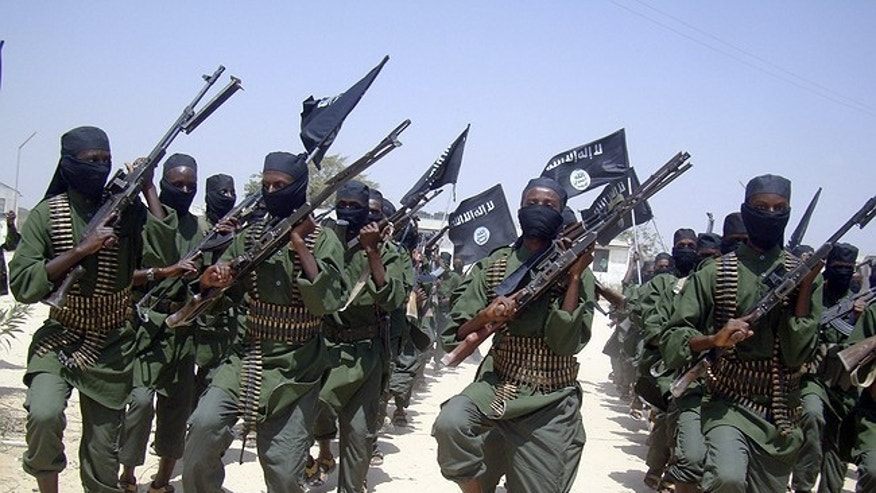 Al-Shabab fighters in an undated photo.