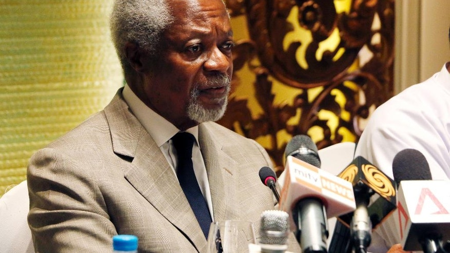 Former U.N. Secretary-General and Rakhine State Advisory Commission Chairman Kofi Annan speaks to journalists during a press briefing at a hotel Thursday, Sept. 8, 2016, in Yangon, Myanmar. Annan is a member of an independent commission set up last month by State Counselor Aung San Suu Kyi's government to help find solutions to a communal conflict in the western state of Rakhine that has seen widespread abuses and violence by Buddhists against Rohingya. (AP Photo/Thein Zaw)