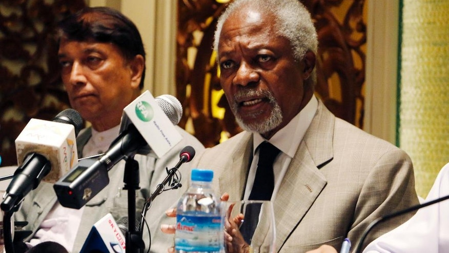 Former U.N. Secretary-General and Rakhine State Advisory Commission Chairman Kofi Annan, right, speaks to journalists as Aye Lwin, left, a member of the commission, listens during a press briefing at a hotel Thursday, Sept. 8, 2016, in Yangon, Myanmar. Annan is a member of an independent commission set up last month by State Counselor Aung San Suu Kyi's government to help find solutions to a communal conflict in the western state of Rakhine that has seen widespread abuses and violence by Buddhists against Rohingya. (AP Photo/Thein Zaw)