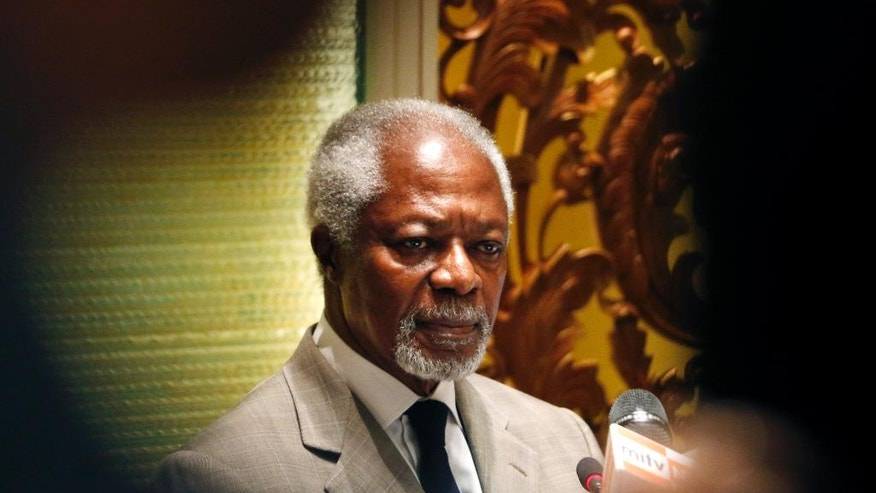 Former U.N. Secretary-General and Rakhine State Advisory Commission Chairman Kofi Annan listens to a question from a journalist during a press briefing at a hotel Thursday, Sept. 8, 2016, in Yangon, Myanmar. Annan is a member of an independent commission set up last month by State Counselor Aung San Suu Kyi's government to help find solutions to a communal conflict in the western state of Rakhine that has seen widespread abuses and violence by Buddhists against Rohingya. (AP Photo/Thein Zaw)