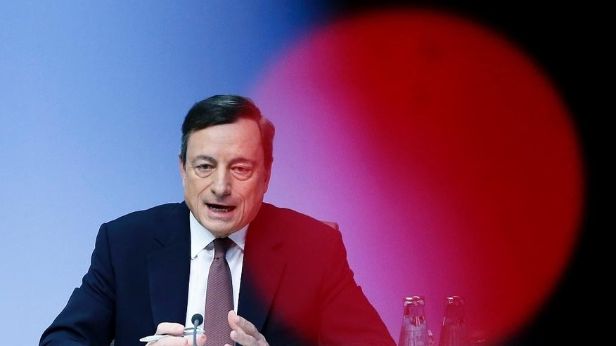 FILE- In this Thursday, April 21, 2016 file photo, president of European Central Bank, ECB, Mario Draghi speaks during a news conference after a meeting of the governing council in Frankfurt, Germany. The bank's 25-member governing council, headed by Draghi, decides interest rate benchmarks and other monetary policy steps for the 19 countries that use the euro currency, when it meets Thursday, Sept. 8, 2016 in Frankfurt. (AP Photo/Michael Probst)