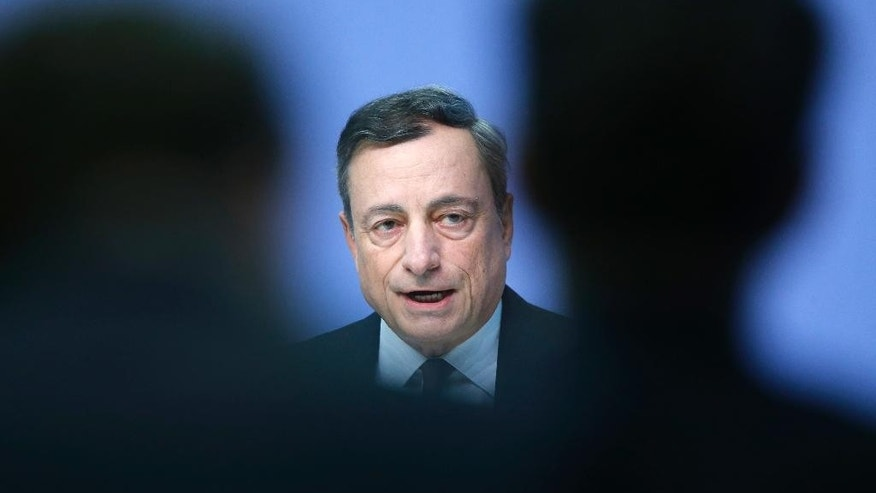 President of the European Central Bank Mario Draghi speaks during a news conference in Frankfurt, Germany, Thursday, Sept. 8, 2016, following a meeting of the ECB governing council. (AP Photo/Michael Probst)