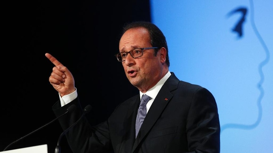 French President Francois Hollande delivers his speech about democracy and terrorism as he looks ahead to a potential bid for a second term, Thursday Sept. 8, 2016 in Paris. (AP Photo/Christophe Ena, Pool)