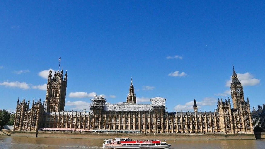 Sept. 8, 2016: General view of the Houses of Parliament with scaffolding around a section of it in London.