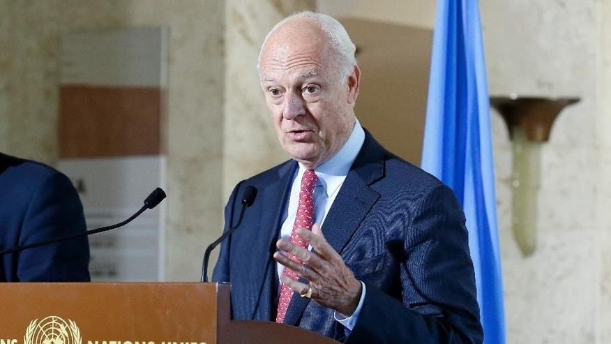 Staffan de Mistura, UN Special Envoy for Syria, talks about the International Syria Support Group's Humanitarian Access Task Force at the European headquarters of the United Nations in Geneva, Switzerland, Friday, Sept. 9, 2016. (Magali Girardin/Keystone via AP)