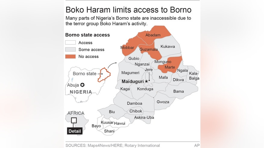 Map shows areas of Nigeria's Borno state inaccessible; 1c x 3 1/2 inches; 46.5 mm x 88 mm;