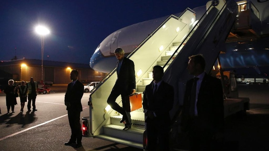 U.S. Secretary of State John Kerry arrives in Geneva, Switzerland Friday, Sept. 9, 2016. Kerry is in Geneva for yet another meeting with Russian Foreign Minister Sergey Lavrov to try to forge a nationwide truce in Syria, improve humanitarian aid deliveries and restart peace talks. (Kevin Lamarque/Pool Photos via AP)