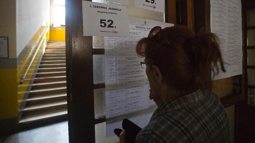 A voter enters a polling station in Zagreb, Croatia, Sunday, Sept. 11, 2016. Croatian citizens have started casting ballots in an early parliamentary election that is unlikely to produce a clear winner and could pave the way for more political uncertainty in the European Union's newest member state. (AP Photo/Darko Bandic)