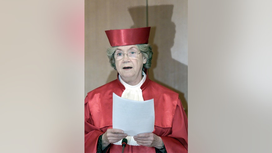 FILE - In this April 8, 2002 file picture then president of  the German Constitutional Court, Jutta Limbach, is pictured in Karlsruhe, Germany. Germany's highest court says former  chief justice Jutta Limbach, who later headed a commission that examines disputes over claims for the restitution of art looted under the Nazis, has  died. She was 82.The  Federal Constitutional Court said Monday Sept. 12, 2016  that Limbach died in Berlin on Saturday.(AP Photo/Winfried Rothermel,file)