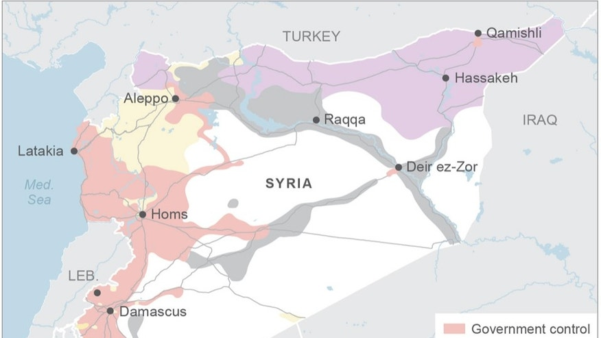 Map shows areas of control in Syria; 3c x 4 1/4 inches; 146 mm x 107 mm;