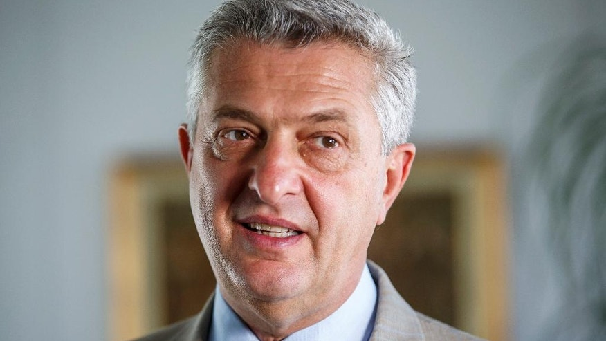 United Nations High Commissioner for Refugees, UNHCR, Italian Filippo Grandi speaks to The Associated Press during an interview at the European headquarters of the United Nations in Geneva, Switzerland, Tuesday, Sept. 13, 2016. (Salvatore Di Nolfi/Keystone via AP)