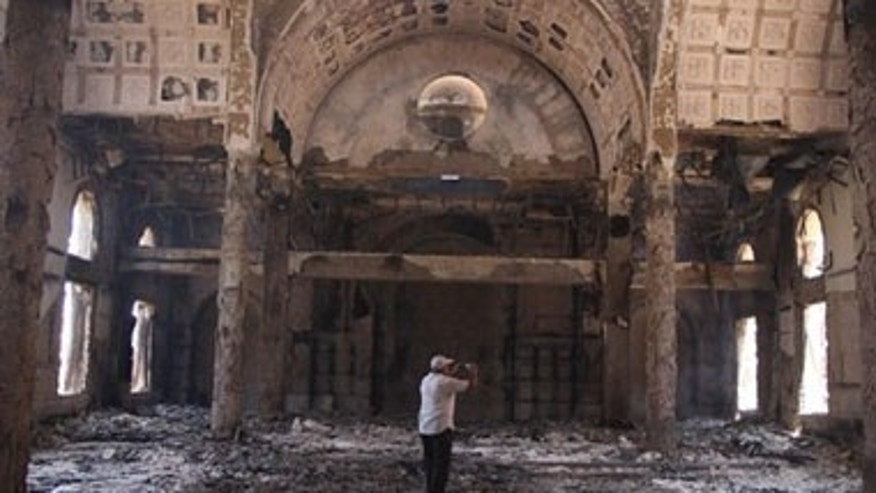 The damaged interior of the Saint Moussa Church.