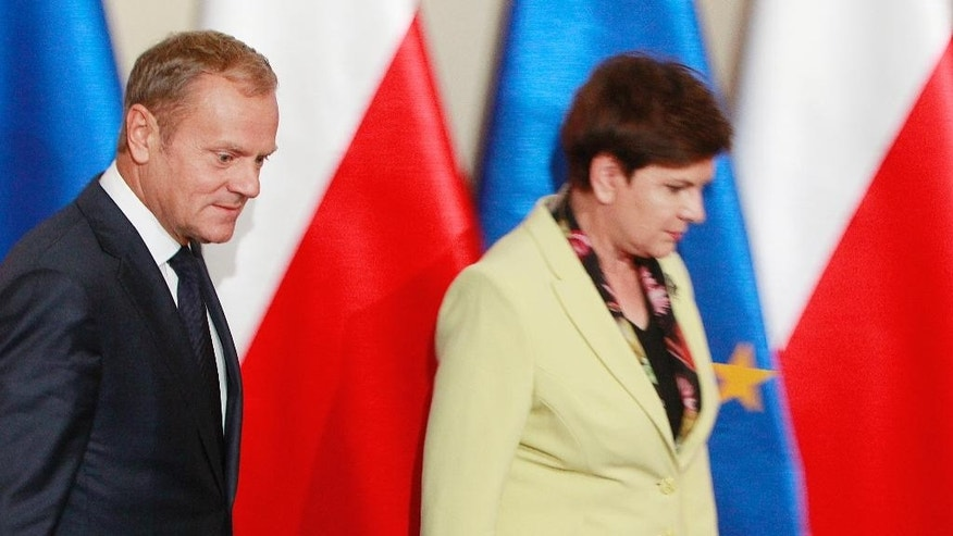 Poland's Prime Minister Beata Szydlo, right, greets European Council President Donald Tusk before talks on EU future after Britain leaves, in Warsaw, Poland, Tuesday, Sept. 13, 2016. Ahead of EU summit on Friday, Szydlo says EU needs deep, bold reforms. Relations between Szydlo, a conservative, and Tusk, Poland's former centrist prime minister, are tense. (AP Photo/Czarek Sokolowski)