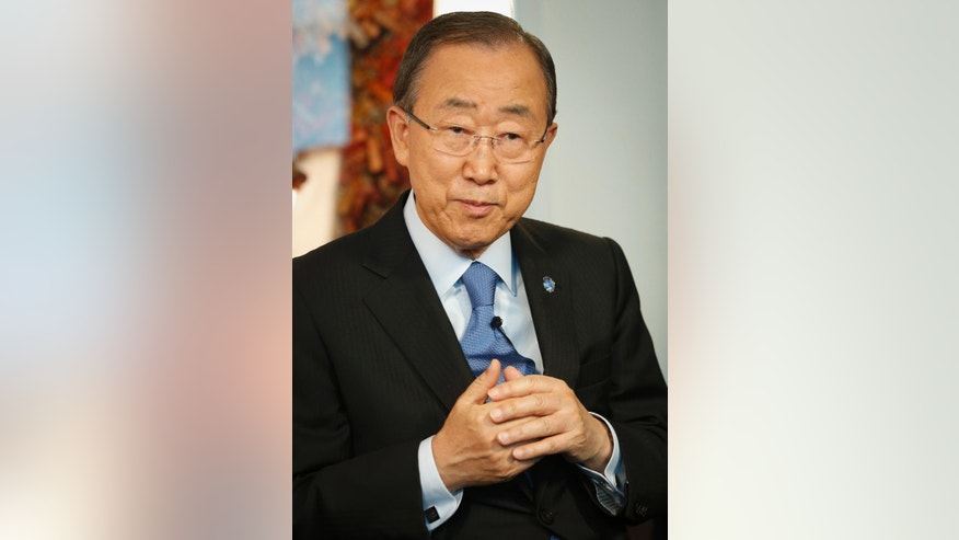 "In this Sept. 9, 2016 photo, United Nations Secretary-General Ban Ki-moon listens during an interview at U.N. headquarters. Ban says he's disappointed by many world leaders who care more about retaining power than improving the lives of their people - and can't understand why Syria is being held hostage to ""the destiny"" of one man, President Bashar Assad.  (AP Photo/Bebeto Matthews)"