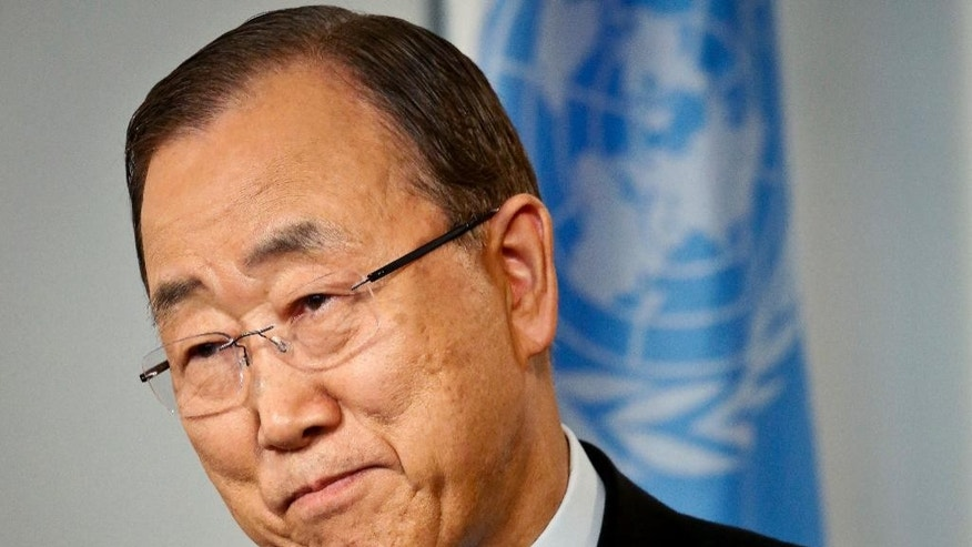 "In this Friday, Sept. 9, 2016 photo, United Nations Secretary-General Ban Ki-moon speaks during an interview at U.N. headquarters. Ban says he's disappointed by many world leaders who care more about retaining power than improving the lives of their people - and can't understand why Syria is being held hostage to ""the destiny"" of one man, President Bashar Assad.  (AP Photo/Bebeto Matthews)"