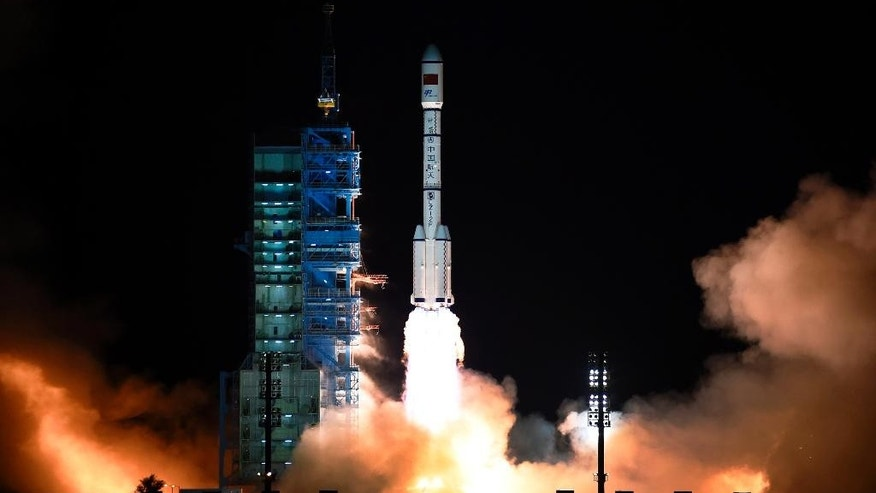 The Long March 7 rocket carrying the Tiangong-2 module blasts off from the Jiuquan Satellite Launch Center in Jiuquan, northwest China's Gansu Province, Thursday, Sept. 15, 2016. China has launched its second space station in a sign of the growing sophistication of its military-backed program that intends to send a mission to Mars in the coming years. (Chinatopix via AP)