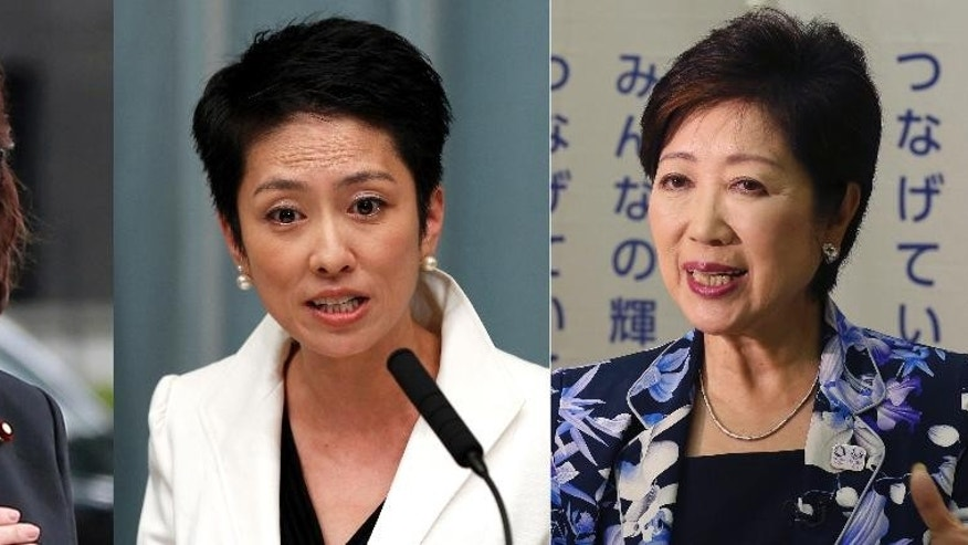 "FILE - This combination of photos taken in Sept. 12, 2016, left, Sept. 2, 2011, center, and Aug. 29, 2016, shows Japanese female politicians, from left, Defense Minister Tomomi Inada, newly elected opposition Democratic Party leader Renho Murata and Tokyo Gov. Yuriko Koike. It's too early to say whether these three are a harbinger of greater change, notwithstanding Prime Minister Shinzo Abe's ""womenomics"" push to encourage women to pursue careers. Japanese women have served in high posts before - a pioneer was popular politician Takako Doi, who took the reins of the Socialist party in 1986 - but they have been more the exception than the rule. (AP Photo/Koji Sasahara, Shizuo Kambayashi, File)"