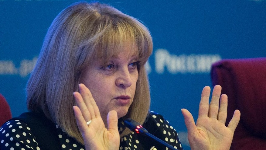 Ella Pamfilova, head of Russian Central Election Commission, speaks in commission headquarters in Moscow, Russia on Thursday, Sept. 15, 2016. Russia is preparing to hold a parliamentary election on Sunday, Sept. 18. (AP Photo/Ivan Sekretarev)