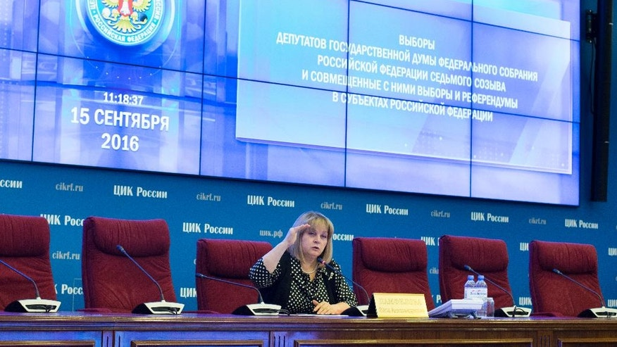 Ella Pamfilova, head of Russian Central Election Commission, speaks in the  commission headquarters in Moscow, Russia on Thursday, Sept. 15, 2016. Russia is preparing to hold a parliamentary election on Sunday, Sept. 18. (AP Photo/Ivan Sekretarev)