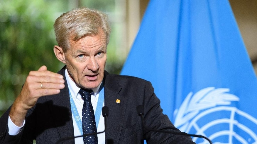 Jan Egeland, Senior Advisor to the UN Special Envoy for Syria speaks about the International Syria Support Group's Humanitarian Access Task Force at the European headquarters of the United Nations, in Geneva, Switzerland, Thursday, Sept. 15, 2016. (Martial Trezzini/Keystone via AP)