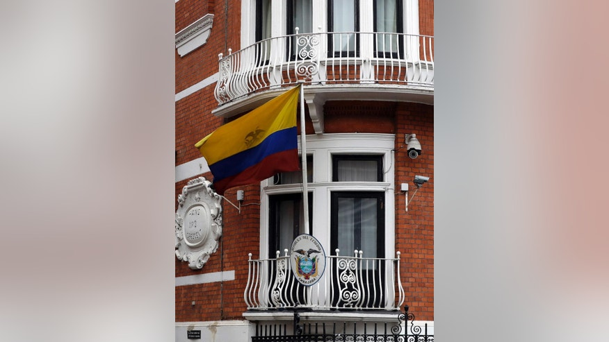 The Ecuadorian flag flies outside the Ecuadorian Embassy in London, Friday, Sept. 16, 2016. A Swedish appeals court has upheld a detention order for WikiLeaks founder Julian Assange, who is wanted by prosecutors in a rape investigation. The decision Friday by the Svea Court of Appeal means that the arrest warrant stands for the 45-year-old Australian, who has avoided extradition to Sweden by seeking shelter at the Ecuadorian Embassy in London since 2012. (AP Photo/Kirsty Wigglesworth)