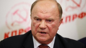 Lawmaker and Communist Party leader Gennady Zyuganov speaks in the party election headquarters after the parliamentary election in Moscow, Russia, Sunday, Sept. 18, 2016. Early results on Sunday showed Russia's ruling United Russia party winning in the parliamentary election amid reports of election violations and visible voter apathy in the country's two largest cities. (AP Photo/Alexander Zemlianichenko)