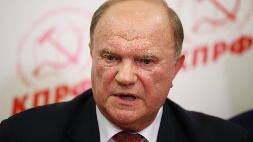 Lawmaker and Communist Party leader Gennady Zyuganov speaks in the party election headquarters after the parliamentary election in Moscow, Russia, Sunday, Sept. 18, 2016.
