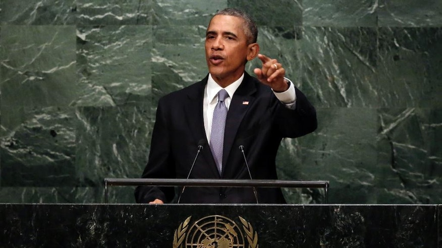 FILE - In this Sept. 28, 2015, file photo, President Barack Obama addresses the 70th session of the United Nations General Assembly. In one of his last major appearances on the world stage, Obama will try to define how his leadership has made the planet safer and more prosperous when he gives his farewell speech to the U.N. General Assembly on Sept. 20, 2016. (AP Photo/Richard Drew, File)