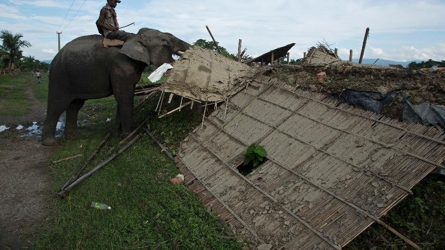 A mahout guides a forest department elephant to demolish a house at Bandardubi village, on the periphery of the Kaziranga National Park, northeastern Assam state, India, Monday, Sept. 19, 2016. Authorities ordered the demolition of around 300 houses in three villages to evict people living on the periphery of the rhino sanctuary to stop rampant poaching of the rare animal, a top police official said. Two people were killed and several others were injured Monday when villagers clashed with police while protesting the demolition of their homes. (AP Photo/Anupam Nath)