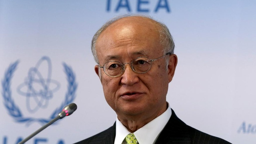 Director General of the International Atomic Energy Agency, IAEA, Yukiya Amano of Japan addresses the media during a news conference after a meeting of the IAEA board of governors at the International Center in Vienna, Austria, Monday, Sept. 19, 2016. (AP Photo/Ronald Zak)