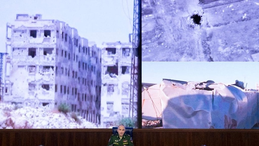 "Lt.-Gen. Sergei Rudskoi of the Russian Military General Staff, speaks to the media at a Russian Defense Ministry building in Moscow, Russia, Monday, Sept. 19, 2016. Rudskoi said that it has become ""meaningless"" for the Syrian government forces to observe the U.S.-Russia-brokered truce in view of continuous rebel violations. (AP Photo/Alexander Zemlianichenko)"