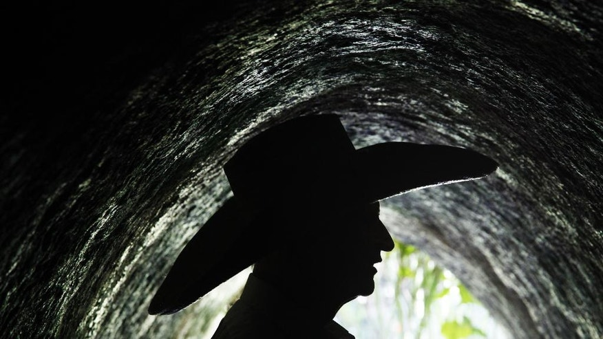 """This Wednesday, Sept. 14, 2016 photo shows the silhouette of Mexican architect Javier Senosiain inside an entrance of his project, the """"Nest of Quetzalcoatl,"""" on the outskirts of Mexico City.  Senosiain has spent 30 years building egg- and cocoon-like dwellings that are quite literally out of the box. """"When a child is born we put him an incubator, which is a box,"""" says the 68-year-old. """"Then we put him a playpen. The child is placed in a succession of boxes throughout his life, and then when he dies, he is put in another box."""" (AP Photo/Marco Ugarte)"""