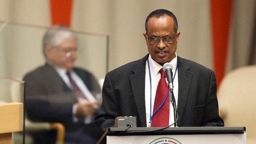 Hamad Elgizouli, Sudan's commissioner of refugees, speaks during the Summit for Refugees and Migrants at U.N. headquarters, Monday, Sept. 19, 2016. (AP Photo/Seth Wenig)