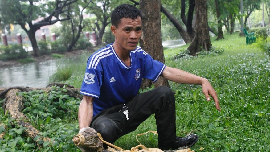 An officer displays a bound monitor lizard at Lumpini Park in Bangkok, Thailand, Tuesday, Sept. 20, 2016. The Bangkok Metropolitan Administration's plan for the lizards, who's park population has grown to the hundreds, is to relocate them to a neighboring sanctuary and return the city's central park to a safe destination frequented by tourists and locals. (AP Photo/Sakchai Lalit)