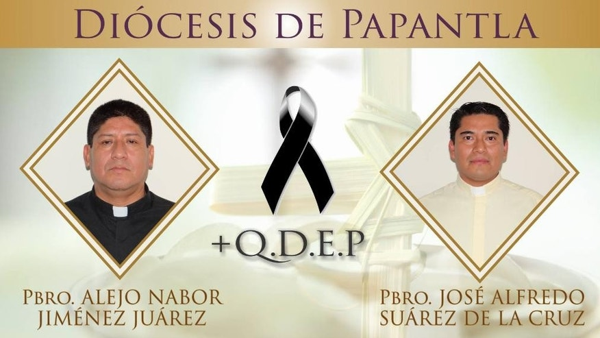 In this composite image released by the Diocese of Papantla, Mexico on Monday, Sept. 19, 2016, photos of priests Alejo Nabor Jimenez Juarez, left, and Jose Alfredo Juarez de la Cruz are shown with a black mourning ribbon and a Rest in Peace acronym placed between them. Both men were found dead after being abducted on Sunday in the city of Poza Rica on Mexico's Gulf coast state of Veracruz. Their bodies were found dumped by a roadside Monday. A third man who was abducted along with them was later found alive. The area around Poza Rica has been the scene of drug gang violence. (Diocese of Papantla via AP)