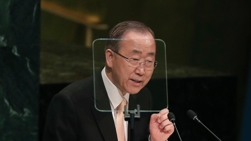Secretary-General Ban Ki-moon speaks during the 71st session of the United Nations General Assembly, Tuesday, Sept. 20, 2016, at U.N. headquarters. (AP Photo/Julie Jacobson)