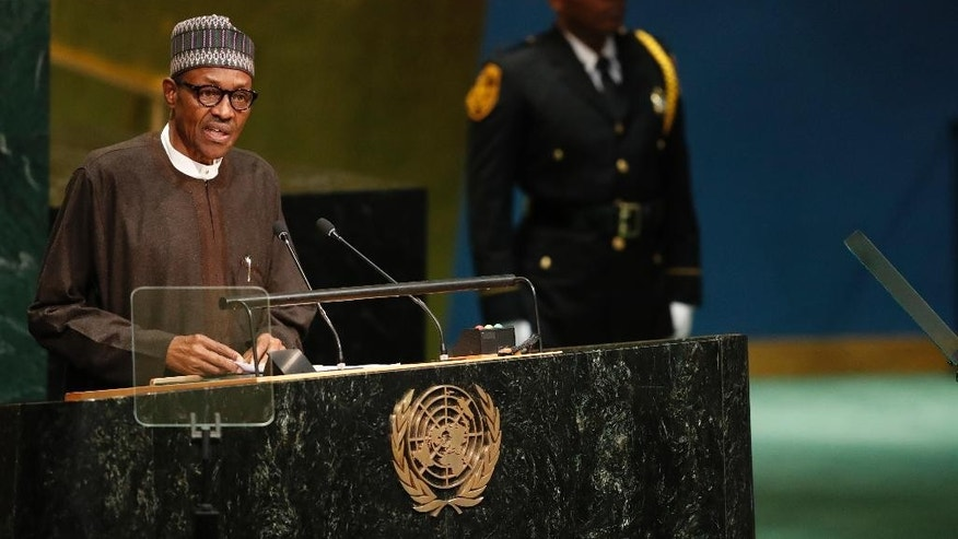 Nigerian President Muhammadu Buhari speaks during the 71st session of the United Nations General Assembly at U.N. headquarters, Tuesday, Sept. 20, 2016. (AP Photo/Mary Altaffer)