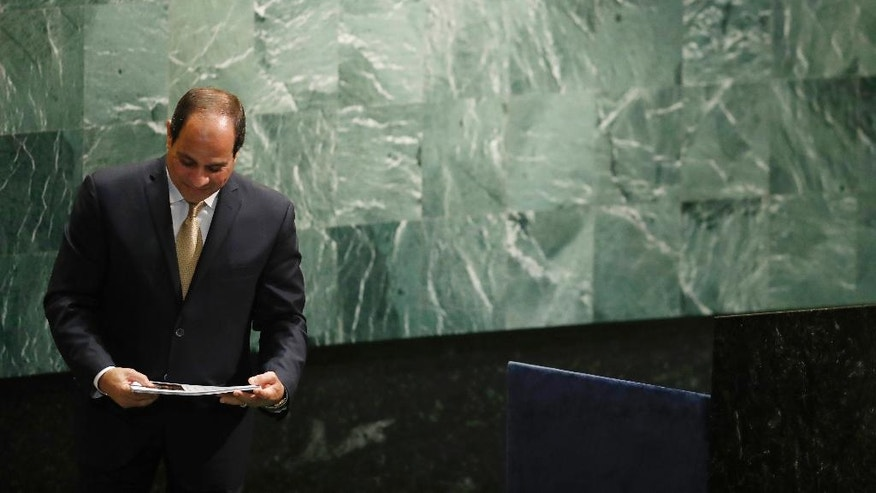 Egyptian President Abdel Fattah el-Sisi looks at his notes after speaking at the 71st session of the United Nations General Assembly at U.N. headquarters, Tuesday, Sept. 20, 2016. (AP Photo/Mary Altaffer)