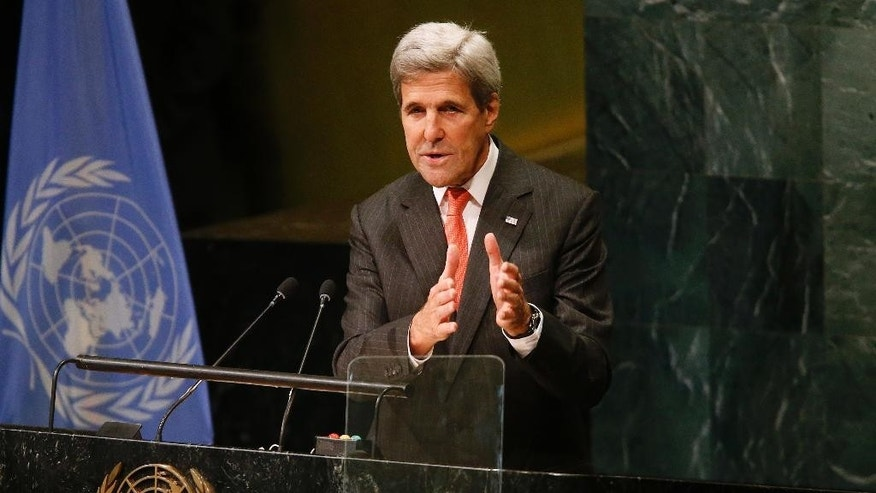 United States Secretary of State John Kerry addresses a high-level event on the entry into force of the Paris Agreement on climate change during the 71st session of the U.N. General Assembly at U.N. Headquarters, Wednesday, Sept. 21, 2016. (AP Photo/Jason DeCrow)