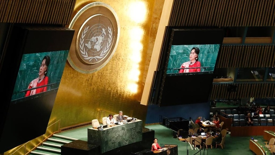 Myanmar Foreign Minister Aung San Suu Kyi speaks during the 71st session of the United Nations General Assembly at U.N. headquarters, Wednesday, Sept. 21, 2016. (AP Photo/Mary Altaffer)