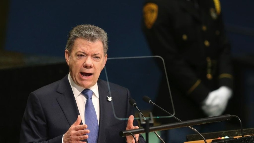 Colombian President Juan Manuel Santos Calderon speaks during the 71st session of the United Nations General Assembly at U.N. headquarters, Wednesday, Sept. 21, 2016. (AP Photo/Seth Wenig)