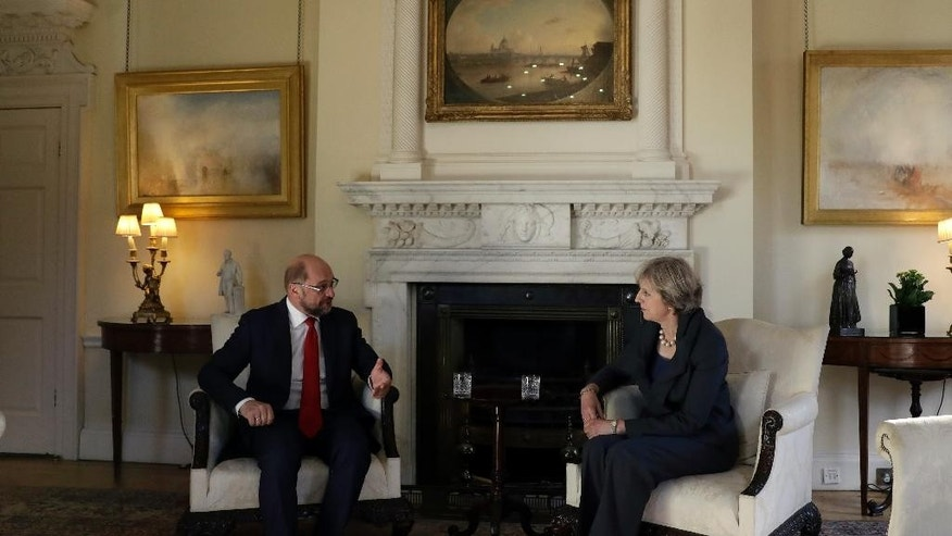 British Prime Minister Theresa May, right, hosts the President of the European Parliament Martin Schulz for talks at 10 Downing Street in London, Thursday, Sept. 22, 2016. (AP Photo/Matt Dunham, Pool)