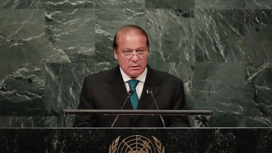 Muhammad Nawaz Sharif, Prime Minister of Pakistan, speaks during the 71st session of the United Nations General Assembly, Wednesday, Sept. 21, 2016, at U.N. headquarters. (AP Photo/Julie Jacobson)