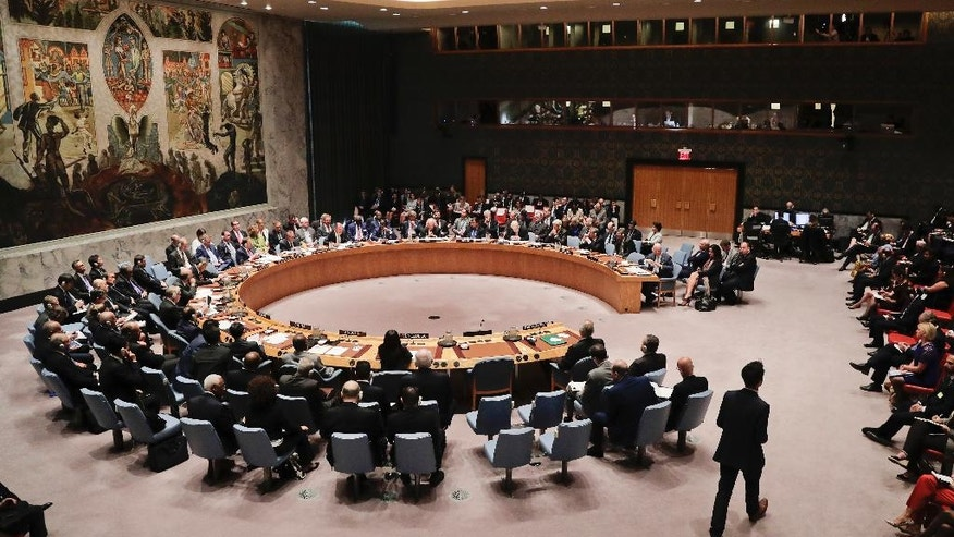 Members of the Security Council meet to address the situation in Syria, Wednesday, Sept. 21, 2016, at U.N. headquarters. (AP Photo/Julie Jacobson)