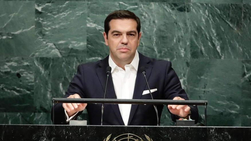 Greece's Prime Minister Alexis Tsipras speaks during the 71st session of the United Nations General Assembly, Thursday, Sept. 22, 2016, at U.N. headquarters. (AP Photo/Frank Franklin II)